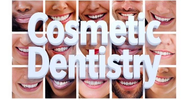 Cosmetic Dentistry, 5 by 3 grid of smiles.